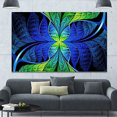DesignArt 'Blue Green Fractal Stained Glass' Graphic Art on Canvas; 40'' H x 60'' W x 1.5'' D