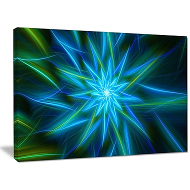 DesignArt 'Shining Turquoise Exotic Flower' Graphic Art on Canvas; 20'' H x 40'' W x 1'' D