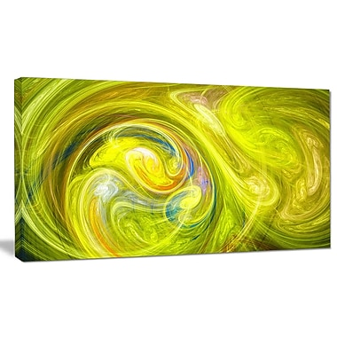DesignArt 'Yellow Fractal Abstract Illustration' Graphic Art on Canvas; 12'' H x 20'' W x 1'' D