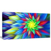 DesignArt 'Dance of Bright Multi-Color Flower' Graphic Art on Canvas; 16'' H x 32'' W x 1'' D