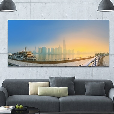 DesignArt 'Shanghais Night w/ Lights' Photographic Print on Canvas; 28'' H x 60'' W x 1.5'' D