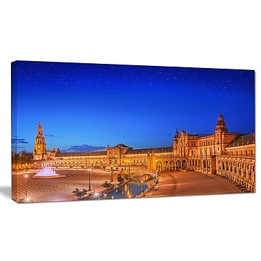 DesignArt 'View of Spain Square at Sunset' Photographic Print on Canvas; 16'' H x 32'' W x 1'' D