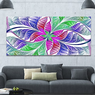 DesignArt 'Flower-like Fractal Stained Glass' Graphic Art on Canvas; 28'' H x 60'' W x 1.5'' D