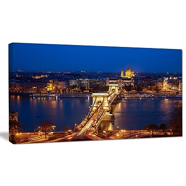 DesignArt 'Illuminated Cain Bridge Budapest' Photographic Print on Canvas; 16'' H x 32'' W x 1'' D