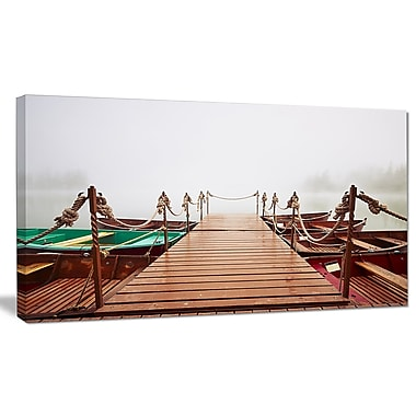 DesignArt 'Boats in Mysterious Fog' Photographic Print on Canvas; 20'' H x 40'' W x 1'' D