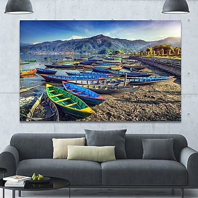 DesignArt 'Colorful Boats in Pokhara Lake' Photographic Print on Canvas; 40'' H x 60'' W x 1.5'' D