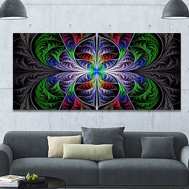DesignArt 'Beautiful Fractal Stained Glass' Graphic Art on Canvas; 28'' H x 60'' W x 1.5'' D