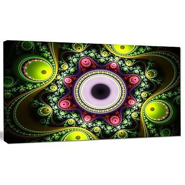 DesignArt 'Green on Black Pattern w/ Circles' Graphic Art on Canvas; 12'' H x 20'' W x 1'' D