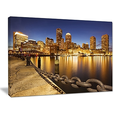 DesignArt 'USA Skyline from Fan Pier at Night' Photographic Print on Canvas; 30'' H x 40'' W x 1'' D