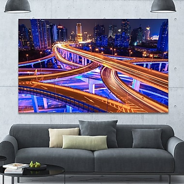 DesignArt 'Colorful City Overpass at Night' Graphic Art on Canvas; 40'' H x 60'' W x 1.5'' D