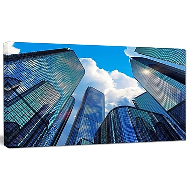 DesignArt 'Elevated Business Buildings' Photographic Print on Canvas; 16'' H x 32'' W x 1'' D