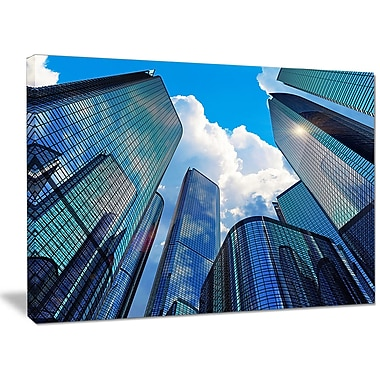 DesignArt 'Elevated Business Buildings' Photographic Print on Canvas; 30'' H x 40'' W x 1'' D