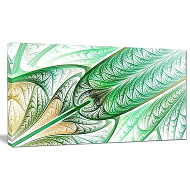 DesignArt 'Green on White Fractal Stained Glass' Graphic Art on Canvas; 12'' H x 20'' W x 1'' D