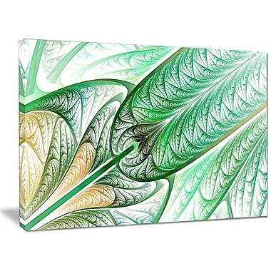 DesignArt 'Green on White Fractal Stained Glass' Graphic Art on Canvas; 30'' H x 40'' W x 1'' D