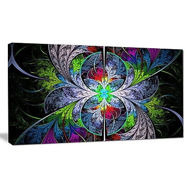DesignArt 'Multi-Color Fractal Stained Glass' Graphic Art on Canvas; 16'' H x 32'' W x 1'' D