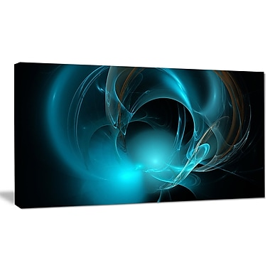 DesignArt 'Blue Fractal Galactic Nebula' Graphic Art Print on Canvas; 16'' H x 32'' W x 1'' D