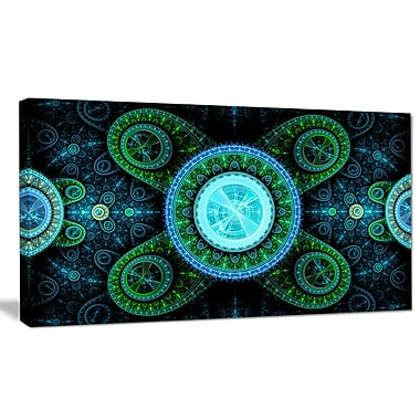 DesignArt 'Bright Blue Psychedelic Relaxing' Graphic Art Print on Canvas; 16'' H x 32'' W x 1'' D