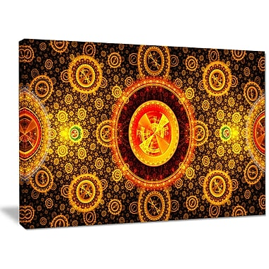 DesignArt 'Golden Psychedelic Relaxing' Graphic Art Print on Canvas; 30'' H x 40'' W x 1'' D