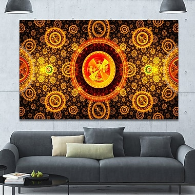DesignArt 'Golden Psychedelic Relaxing' Graphic Art Print on Canvas; 40'' H x 60'' W x 1.5'' D