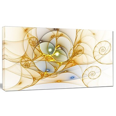 DesignArt 'Golden Colored Curly Spiral' Graphic Art Print on Canvas; 12'' H x 20'' W x 1'' D