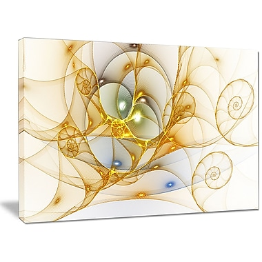DesignArt 'Golden Colored Curly Spiral' Graphic Art Print on Canvas; 30'' H x 40'' W x 1'' D