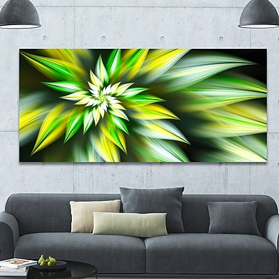 DesignArt 'Exotic Green Fractal Spiral Flower' Graphic Art on Canvas; 28'' H x 60'' W x 1.5'' D