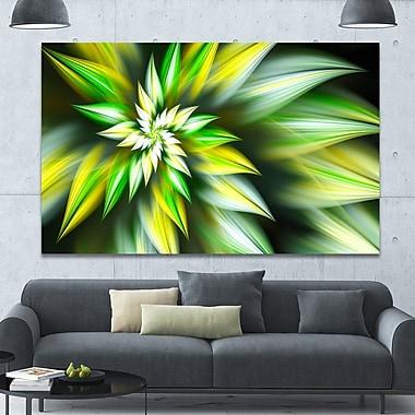 DesignArt 'Exotic Green Fractal Spiral Flower' Graphic Art on Canvas; 40'' H x 60'' W x 1.5'' D