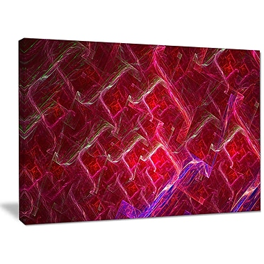 DesignArt 'Red Fractal Electric Lightning' Graphic Art on Wrapped Canvas; 30'' H x 40'' W x 1'' D