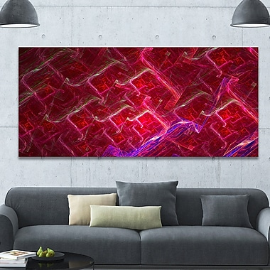 DesignArt 'Red Fractal Electric Lightning' Graphic Art on Wrapped Canvas; 28'' H x 60'' W x 1.5'' D