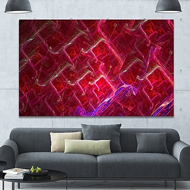 DesignArt 'Red Fractal Electric Lightning' Graphic Art on Wrapped Canvas; 40'' H x 60'' W x 1.5'' D