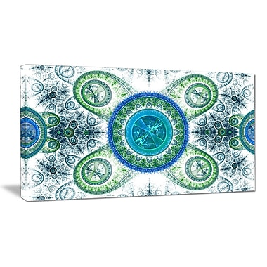 DesignArt 'Blue Psychedelic Relaxing Art' Graphic Art on Wrapped Canvas; 16'' H x 32'' W x 1'' D