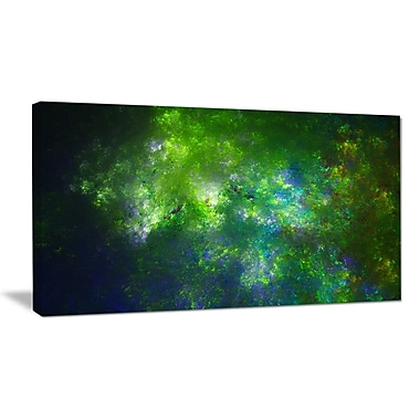 DesignArt 'Green Fractal Sky w/ Blur Stars' Graphic Art on Wrapped Canvas; 20'' H x 40'' W x 1'' D