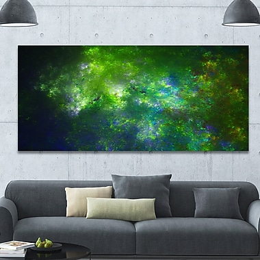 DesignArt 'Green Fractal Sky w/ Blur Stars' Graphic Art on Wrapped Canvas; 28'' H x 60'' W x 1.5'' D