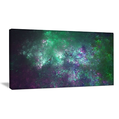 DesignArt 'Green Starry Fractal Sky' Graphic Art on Wrapped Canvas; 12'' H x 20'' W x 1'' D