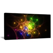 DesignArt 'Yellow Fractal Space Circles' Graphic Art on Wrapped Canvas; 12'' H x 20'' W x 1'' D