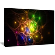 DesignArt 'Yellow Fractal Space Circles' Graphic Art on Wrapped Canvas; 30'' H x 40'' W x 1'' D