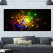 DesignArt 'Yellow Fractal Space Circles' Graphic Art on Wrapped Canvas; 28'' H x 60'' W x 1.5'' D