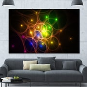 DesignArt 'Yellow Fractal Space Circles' Graphic Art on Wrapped Canvas; 40'' H x 60'' W x 1.5'' D