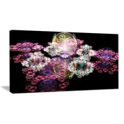 DesignArt 'Pink Water Drops on Mirror' Graphic Art on Wrapped Canvas; 20'' H x 40'' W x 1'' D