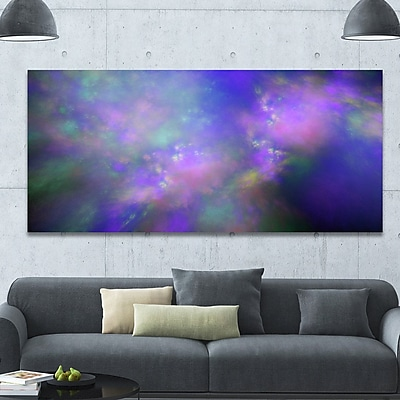 DesignArt 'Perfect Purple Starry Sky' Graphic Art on Wrapped Canvas; 28'' H x 60'' W x 1.5'' D
