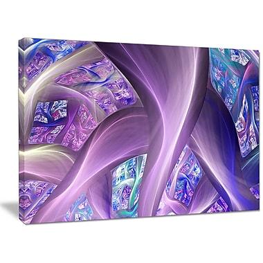 DesignArt 'Purple Blue Fractal Curves' Graphic Art on Wrapped Canvas; 30'' H x 40'' W x 1'' D