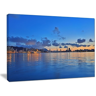 DesignArt 'Hong Kong Skyline at Summer Night' Graphic Art on Wrapped Canvas; 30'' H x 40'' W x 1'' D