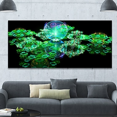 DesignArt 'Green Water Drops on Mirror' Graphic Art on Wrapped Canvas; 28'' H x 60'' W x 1.5'' D