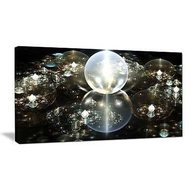 DesignArt 'Golden Water Drops on Mirror' Graphic Art on Wrapped Canvas; 16'' H x 32'' W x 1'' D