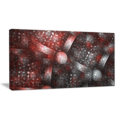 DesignArt 'Crystal Cell Red Steel Texture' Graphic Art on Wrapped Canvas; 20'' H x 40'' W x 1'' D