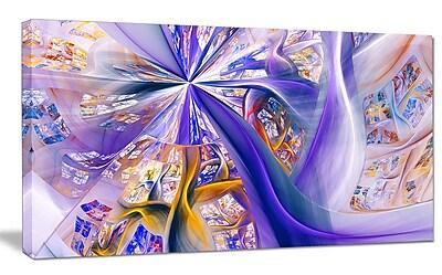 DesignArt 'Purple Yellow Fractal Curves' Graphic Art on Wrapped Canvas; 12'' H x 20'' W x 1'' D
