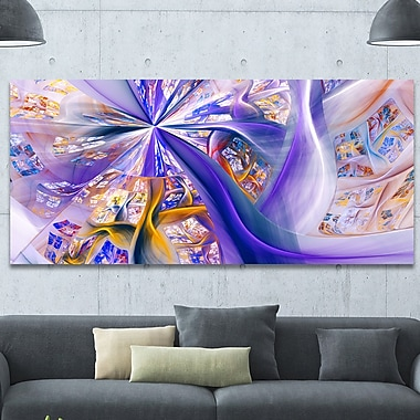 DesignArt 'Purple Yellow Fractal Curves' Graphic Art on Wrapped Canvas; 28'' H x 60'' W x 1.5'' D