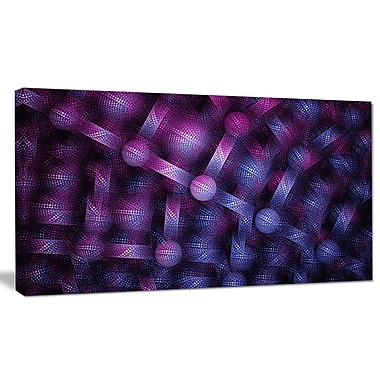 DesignArt 'Crystal Cell Purple Steel Texture' Graphic Art on Wrapped Canvas; 16'' H x 32'' W x 1'' D