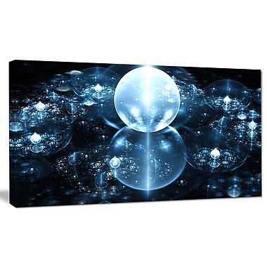 DesignArt 'Blue Water Drops on Mirror' Graphic Art on Wrapped Canvas; 16'' H x 32'' W x 1'' D