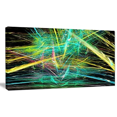 DesignArt 'Green Yellow Magical Fractal' Graphic Art on Wrapped Canvas; 16'' H x 32'' W x 1'' D